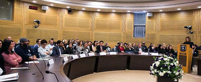 Knesset award conference with Parliament member Meirav Ben Ari